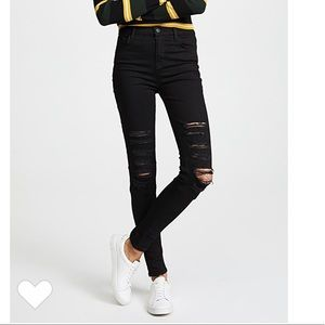 J BRAND High Waisted Ripped Jeans